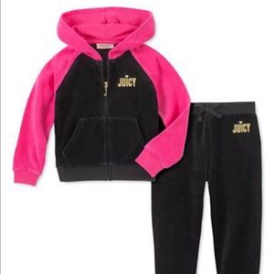 Little Girls Color Block Velour Hoodie/Jogger Set